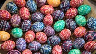 Huevos decorados para la Pascua en Alemania.