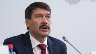 President of Hungary Janos Ader during a press conference in Hungary