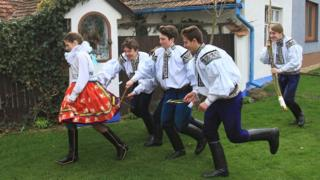Easter Monday whipping in Vlcnov village, Czech Republic (file pic, 6 Apr 15)