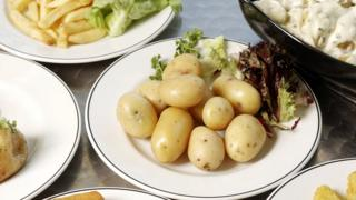 Plate of boiled potatoes