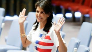 Nikki Haley wearing a soccer jersey to commemorate World Cup inauguration at UN