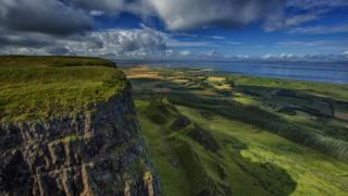Binevenagh mountain and Lough Foyle in the distance
