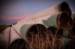 Miles of unused pipe sits in a lot outside Gascoyne, North Dakota