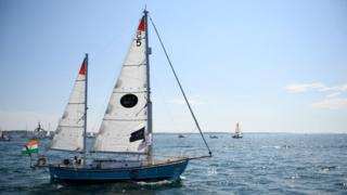 Abhilash Tomy's Thuriya leaves Les Sables d'Olonne, France on 1 July 2018 at the start of the Golden Globe race