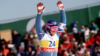 Eddie 'The Eagle' Edwards on a ski slope