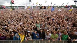 Fans at Glastonbury Festival