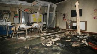 Inside di daycare centre where watchman for spray children with alcohol and put fire for dia body for Junauba.