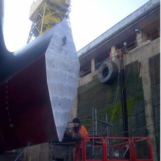 Catamaran Manannan in dry dock