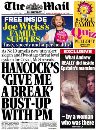 The Mail on Sunday front page 10 May