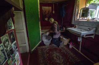 Aggie doing her washing