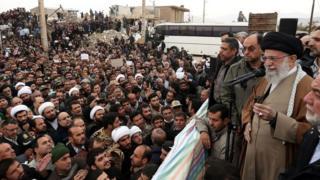 Ayatollah Ali Khamenei addresses people in Sarpol-e Zahab, Iran (20 November 2017)