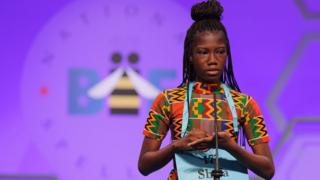 Shifa Amankwah-Gabbey, 12, of Accra, Ghana, participates in the 91st Scripps National Spelling Bee at the Gaylord National Resort and Convention Center May 30, 2018 in National Harbor, Maryland.