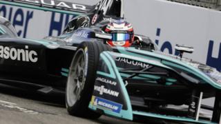 Jaguar race car on the track at the Hong Kong e-prix