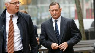 Douglas Hodge, the former chief executive of the investment firm Pimco, arrives at the federal courthouse