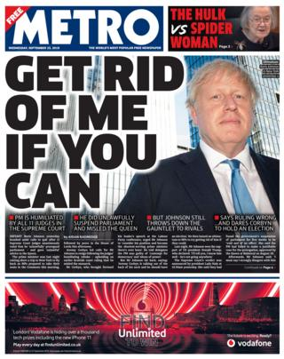 Metro front page 25/09/19