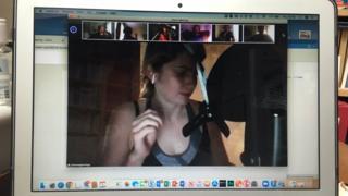 Julianna Jennings recording in her broom cupboard