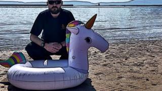 Coastguard with Inflatable unicorn