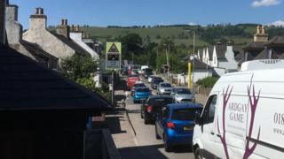Traffic building up in Dingwall