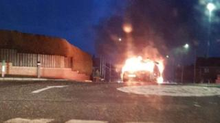 A van is on fire near the railway line in Lurgan, County Armagh
