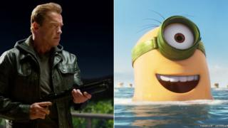 Arnold Schwarzenegger in Terminator: Genisys and a scene from Minions
