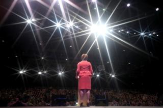 First Minister Nicola Sturgeon making her keynote speech on day three of the SNP autumn conference at the SEC, Glasgow