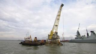 dredger in Portsmouth Harbour