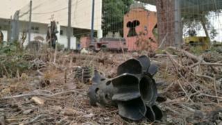 Remains of mortar shell in Israeli kindergarten grounds (29/05/18)