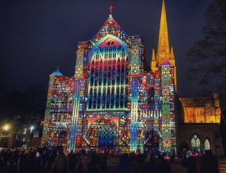 Love Always Wins projection on Norwich Cathedral