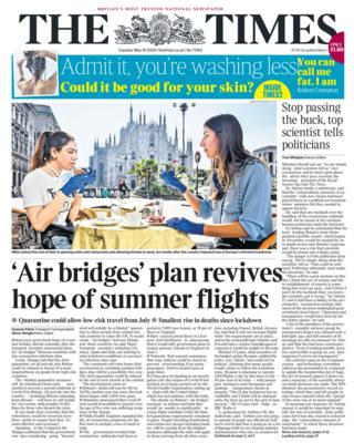 The Times front page 19/05/20