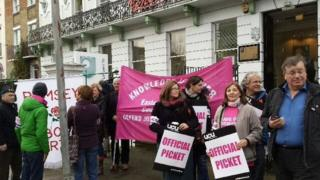 UCU members at the picket line outside Cintra House, Cambridge