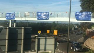 Mystery 'Sorry James' A52 banners removed from bridge