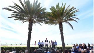 LA Mayor Eric Garcetti addresses the crowds in Santa Monica
