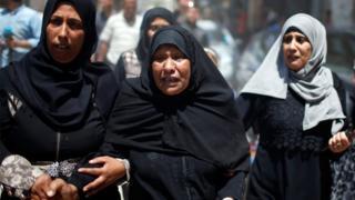 Палестинские женщины на похоронах