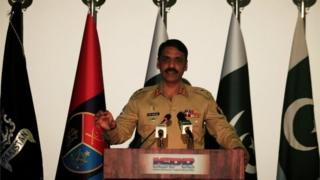 Maj. Gen. Asif Ghafoor, director general of Inter Services Public Relations (ISPR), speaks during a news conference in Rawalpindi