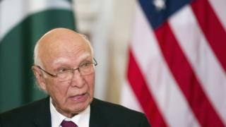 Pakistan Foreign Affairs Adviser Sartaj Aziz speaks during the US-Pakistan Strategic Dialogue meeting at the State Department (29 February 2016)