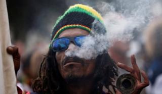 A man smoking cannabis