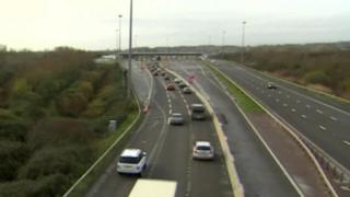 Traffic flows freely over the M4 Severn bridge
