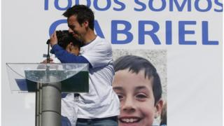 A file photo dated on 08 March 2018 of Angel Cruz (C) and Patricia Ramirez (L), parents of eight-year-old Gabriel Cruz (portrait) during a rally to ask for the boy comes back home in Almeria, southern Spain (issued 11 March 2018).