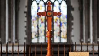 Cross on altar table