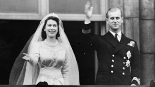 Елизавета и Филип после венчания