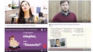 Alguns canais de finanças pessoais no YouTube: em sentido horário, do alto à esquerda: Me Poupe!, O Primo Rico, Blog de Valor e Maiara Xavier
