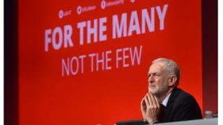 Labour leader Jeremy Corbyn at the Labour Party Conference at the Brighton Centre