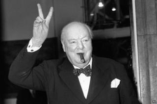 science Winston Churchill giving V-for-victory sign