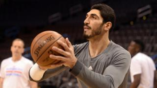 Oklahoma City Thunder center Enes Kanter (11) warms up prior to the game against the San Antonio Spurs at Chesapeake Energy Arena.