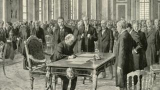 """The Prime Minister of Great Britain Signing the Peace Treaty"""", 1919"""