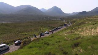 Traffic queued on A87 following the accident