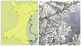 Met Office map and a branch with icicles