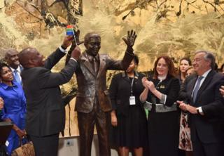 South Africa's President Cyril Ramaphosa, UN General Assembly President Maria Fernanda Espinosa and Secretary-General of the United Nations Antonio Guterres attend the unveiling ceremony of the Nelson Mandela statue from the Republic of South Africa on September 24, 2018 at the United Nations in New York.