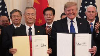 Liu He y Donald Trump