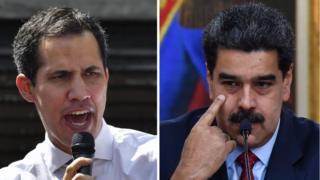 """Juan Guaidó (ibumoso) yitangaje ko ari we """"perezida w'agateganyo"""", mu gihe Nicolás Maduro (iburyo) na we avuga ko ari Perezida wa Venezuela"""